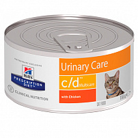 Хиллс (Hill's) prescription diet C/D multicare feline minced with chicken canned консервы для кошек профилактика мкб 156 г