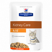 Хиллс (Hill's) prescription diet K/D feline with chicken wet для кошек лечение заболеваний почек пауч 12 шт по 85 г